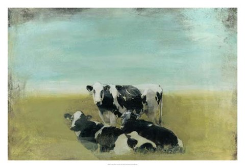 Framed Country Drive Cows III Print