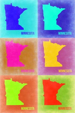 Framed Minnesota Pop Art Map 2 Print