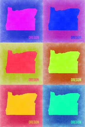 Framed Oregon Pop Art Map 2 Print