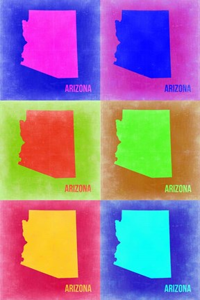 Framed Arizona Pop Art Map 2 Print