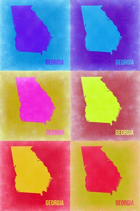Framed Georgia Pop Art Map 2 Print