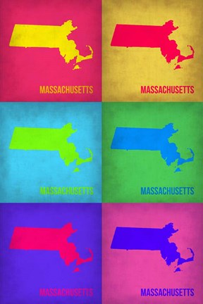 Framed Massachusetts Pop Art Map 1 Print