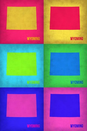 Framed Wyoming Pop Art Map 1 Print