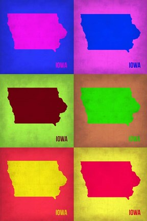 Framed Iowa Pop Art Map 2 Print