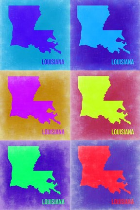Framed Louisiana Pop Art Map 2 Print
