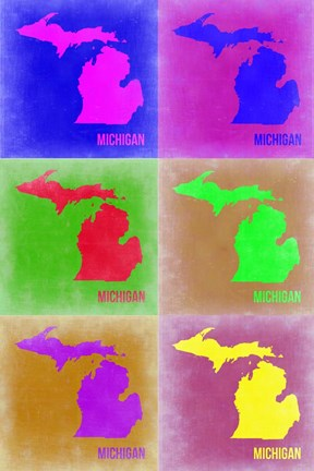 Framed Michigan Pop Art Map 2 Print