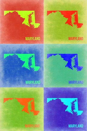 Framed Maryland Pop Art Map 2 Print