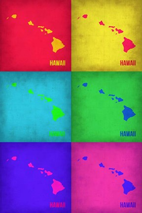 Framed Hawaii Pop Art Map 1 Print
