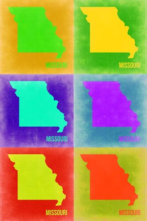 Framed Missouri Pop Art Map 2 Print