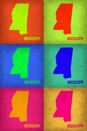 Framed Mississippi Pop Art Map 1 Print