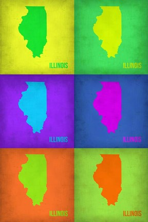 Framed Illinois Pop Art Map 1 Print