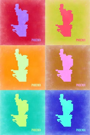 Framed Phoenix Pop Art Map 3 Print