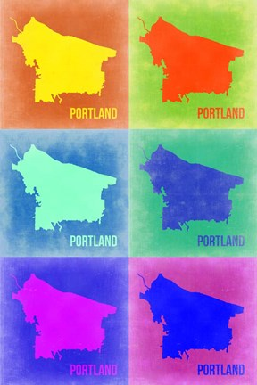 Framed Portland Pop Art Map 3 Print