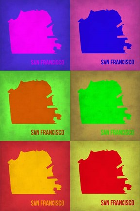Framed San Francisco Pop Art Map 3 Print
