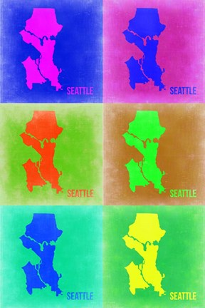Framed Seattle Pop Art Map 3 Print