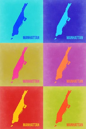 Framed Manhattan Pop Art Map 3 Print