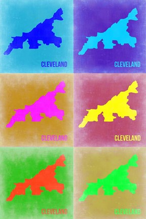 Framed Cleveland Pop Art Map 3 Print