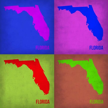 Framed Florida Pop Art Map 1 Print