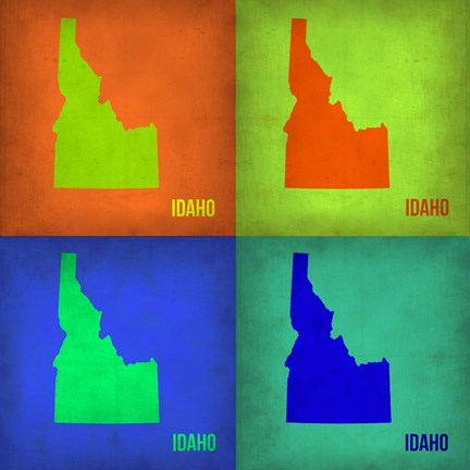 Framed Idaho Pop Art Map 1 Print