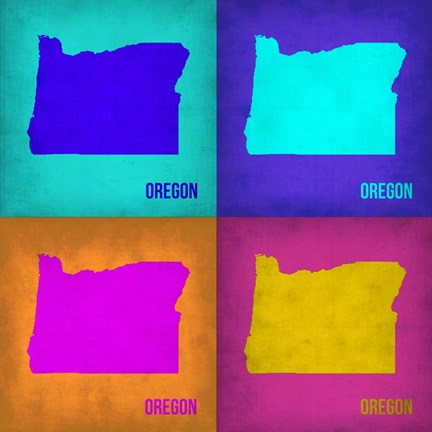 Framed Oregon Pop Art Map1 Print