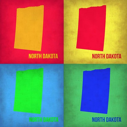 Framed North Dakota Pop Art Map 1 Print