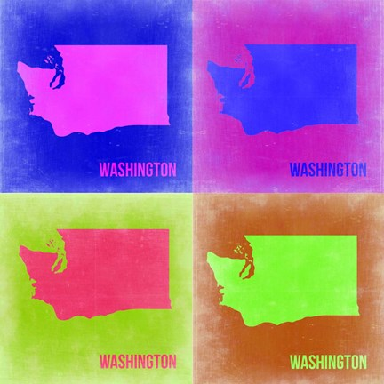 Framed Washington Pop Art Map 2 Print