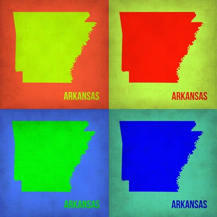 Framed Arkansas Pop Art Map 1 Print