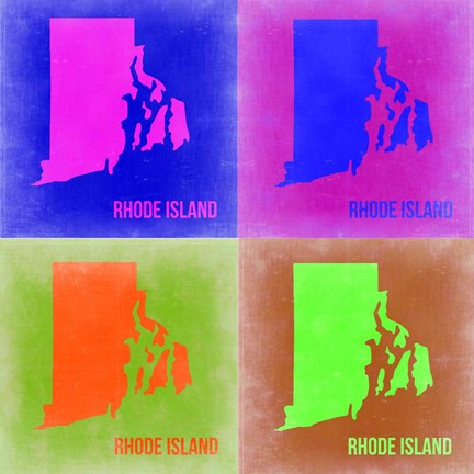 Framed Rhode Island Pop Art Map 2 Print