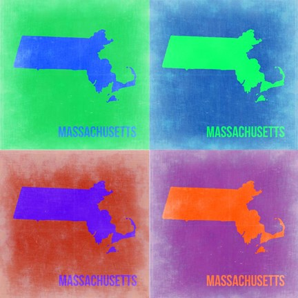 Framed Massachusetts Pop Art Map 2 Print