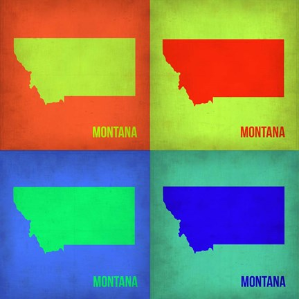 Framed Montana Pop Art Map 1 Print