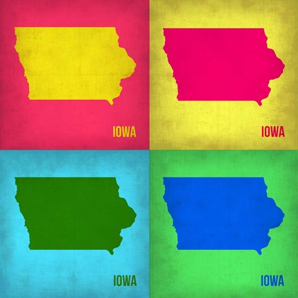 Framed Iowa Pop Art Map 1 Print