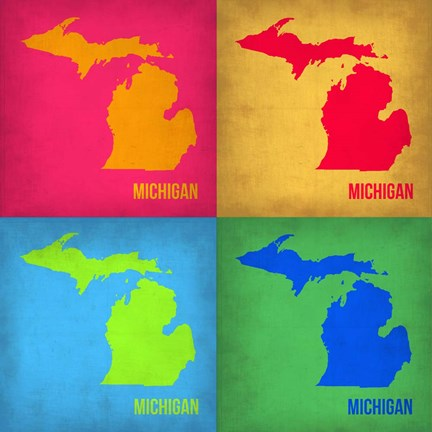 Framed Michigan Pop Art Map 1 Print