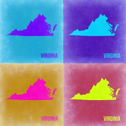 Framed Virginia Pop Art Map 2 Print