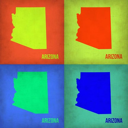 Framed Arizona Pop Art Map 1 Print