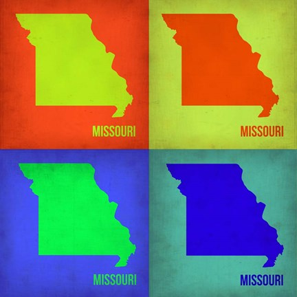 Framed Missouri Pop Art Map 1 Print