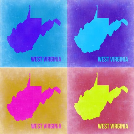 Framed West Virginia Pop Art Map 2 Print