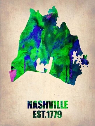Framed Nashville Watercolor Map Print