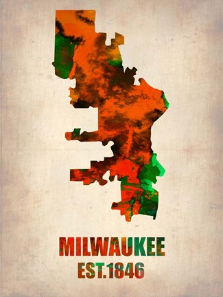 Framed Milwaukee  Watercolor Map Print