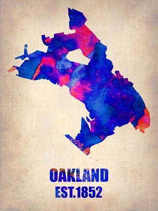 Framed Oakland Watercolor Map Print