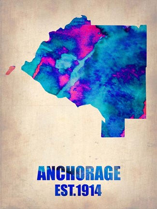 Framed Anchorage Watercolor Map Print