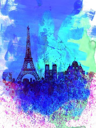 Framed Paris Watercolor Skyline Print