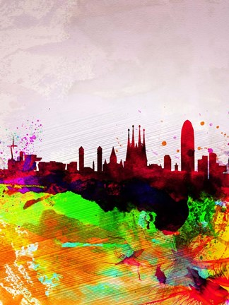 Framed Barcelona Watercolor Skyline Print