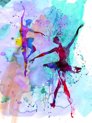 Framed Two Dancing Ballerinas Watercolor 2 Print