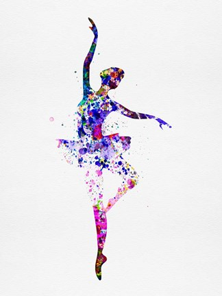 Framed Ballerina Dancing Watercolor 2 Print