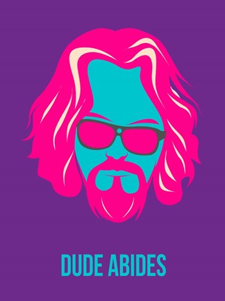Framed Dude Abides Purple Print