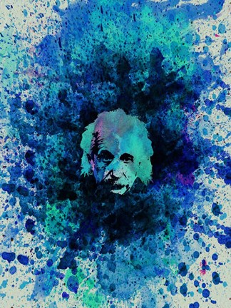 Framed Einstein Watercolor 2 Print