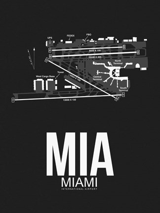 Framed MIA Miami Airport Black Print