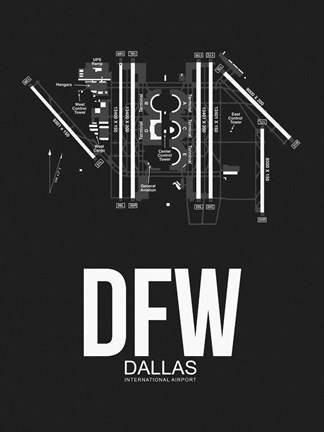 Framed DFW Dallas Airport Black Print