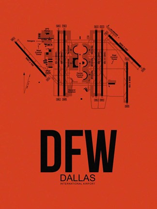 Framed DFW Dallas Airport Orange Print