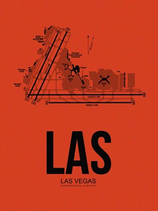 Framed LAS Las Vegas Airport Orange Print